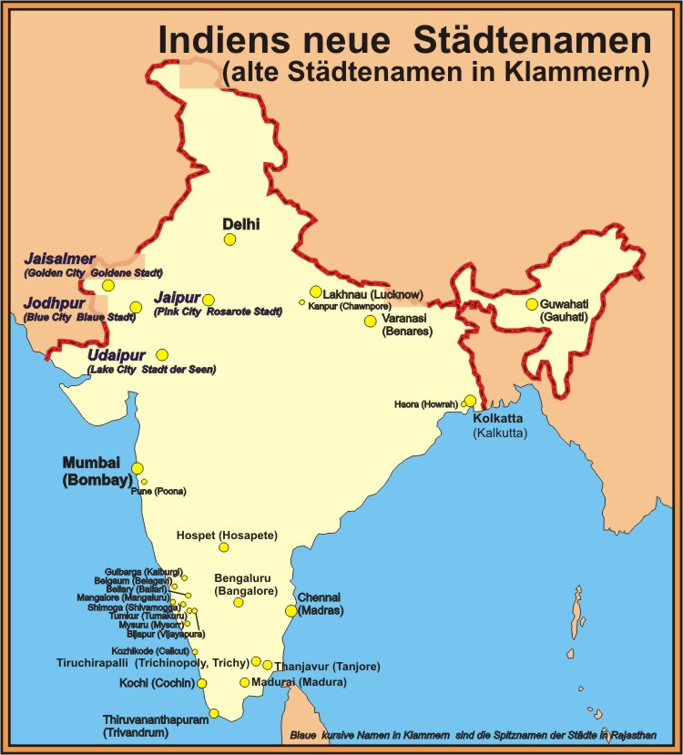 indien karte mumbai Indiens umbenannte Städte – Die Indienreise